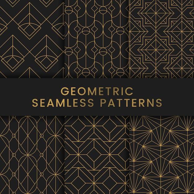 Padrões sem emenda geométricos dourados ajustados no fundo preto Vetor grátis