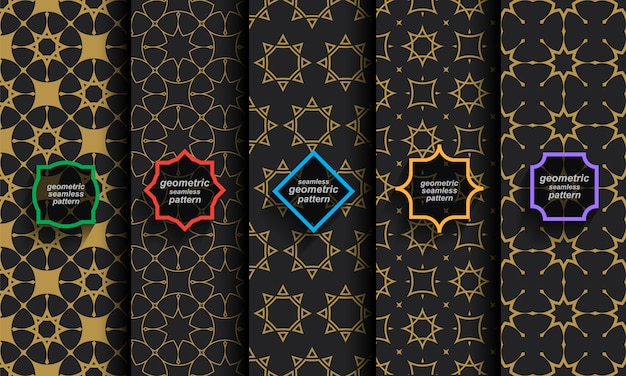 Padrões sem emenda islâmicos, conjunto de preto e dourado Vetor Premium