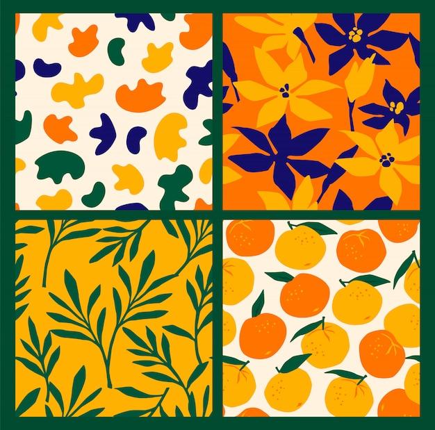 Padrões sem emenda simples com flores abstratas e laranjas. Vetor Premium
