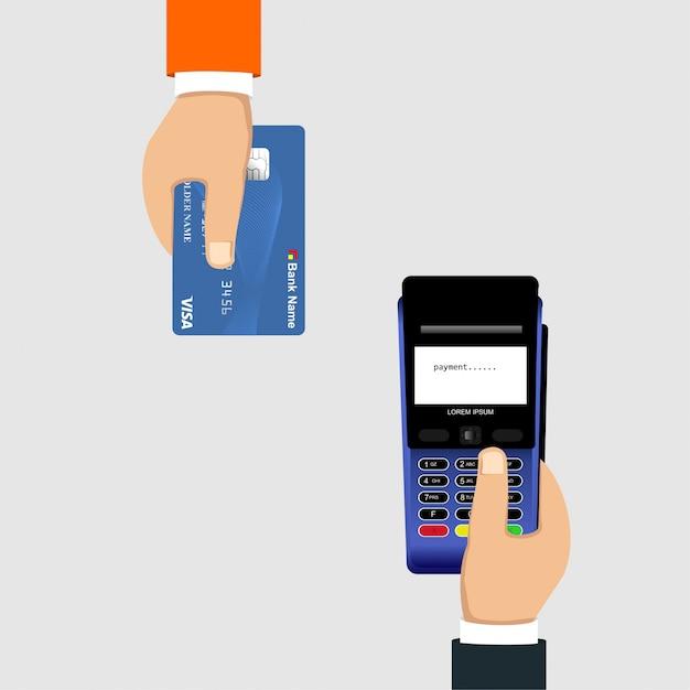Pagamento com cartão de crédito usando uma máquina edc Vetor Premium