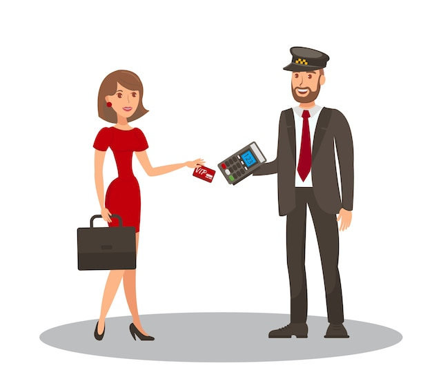 Pagamento com cartão de táxi cartoon ilustração plana Vetor Premium