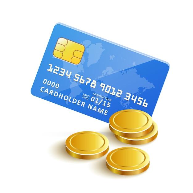 Pagamento com moedas de ouro Vetor Premium