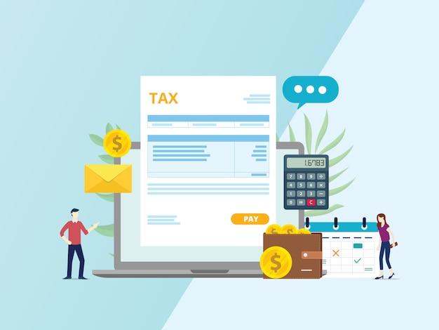 Pagamento de fatura de imposto on-line Vetor Premium