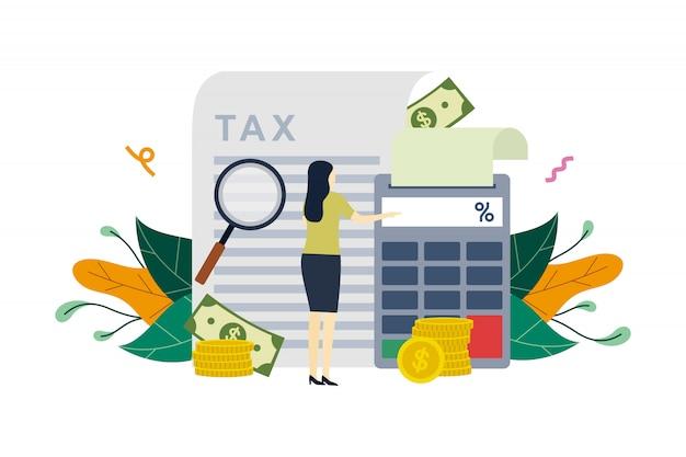 Pagamento de imposto, declaração de imposto de cálculo, pagamento de dívida, ilustração plana de dedução fiscal Vetor Premium