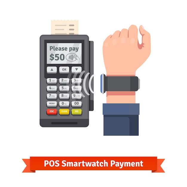 Pagamento do terminal pdv smart watch Vetor grátis