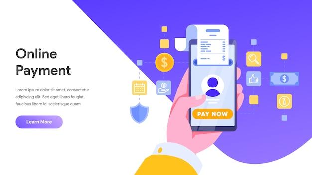 Pagamento móvel ou conceito de transferência de dinheiro para landing page, página inicial, site Vetor Premium