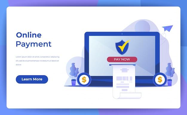 Pagamento móvel ou transferência de dinheiro com o conceito de computador portátil. Vetor Premium