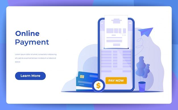 Pagamento móvel ou transferência de dinheiro com o conceito de telefone. Vetor Premium