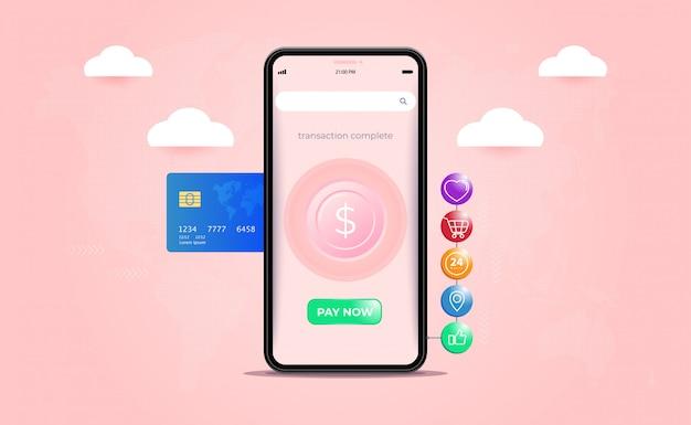 Pagamento móvel, transferências de dinheiro, transações financeiras e serviços financeiros digitais. Vetor Premium