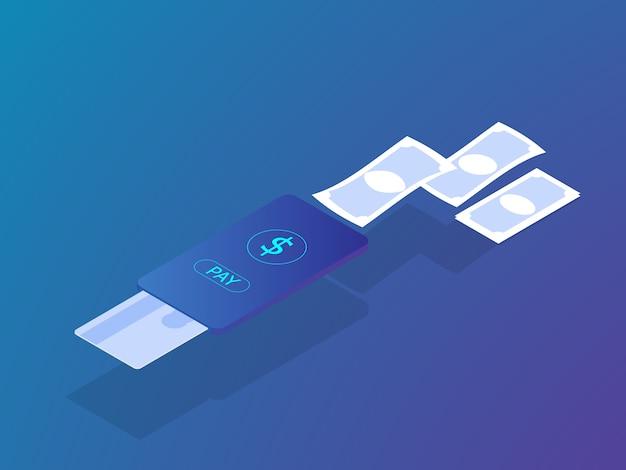 Pagamento on-line conceito de pagamento com cartão de crédito no vetor de smartphone móvel isométrico Vetor Premium