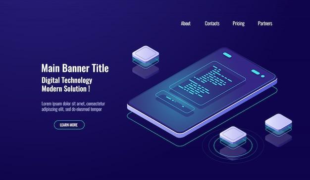 Pagamento on-line, relatório de pagamento isométrico, pagamento on-line, mensagem de texto na tela do celular Vetor grátis