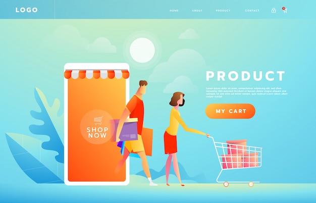 Pagamento on-line usando o conceito de aplicativo com casal compras no smartphone Vetor Premium