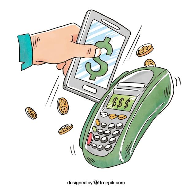 Pagamento online, celular Vetor grátis