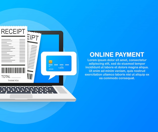 Pagamento online no computador. contabilidade financeira, notificação de pagamento eletrônica Vetor Premium