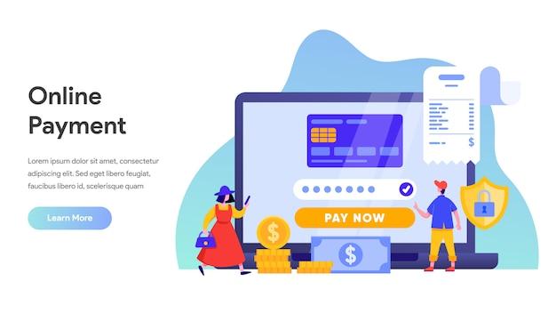 Pagamento online ou conceito de transferência de dinheiro para landing page, página inicial, site Vetor Premium