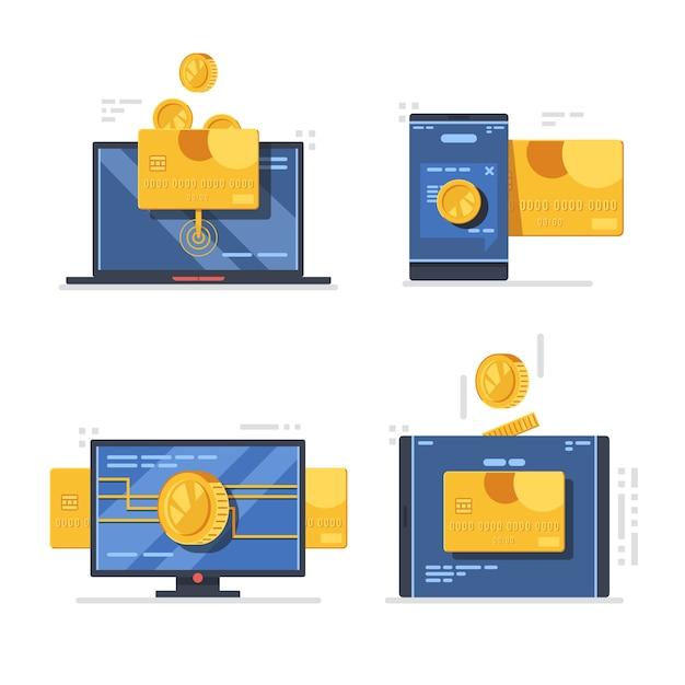 Pagamento online via dispositivos móveis e desktop Vetor Premium