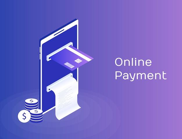Pagamento por meio do telefone celular, pagamentos eletrônicos on-line, bolsa móvel, smartphone com fita de seleção e cartão de pagamento. ilustração 3d isométrica moderna Vetor Premium