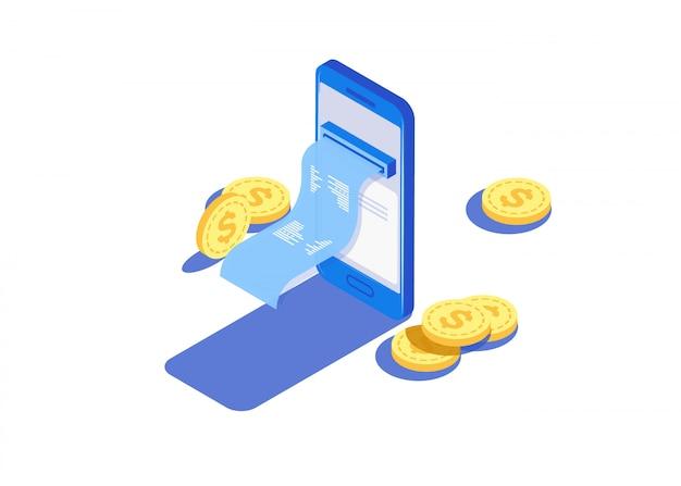 Pagamento por meio dos pagamentos online eletrônicos, smartphone. Vetor Premium