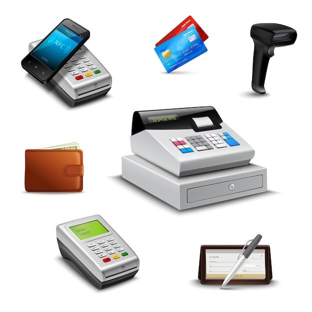 Pagamento realista definido com leitor de código de barras de carteira de cheque Vetor grátis