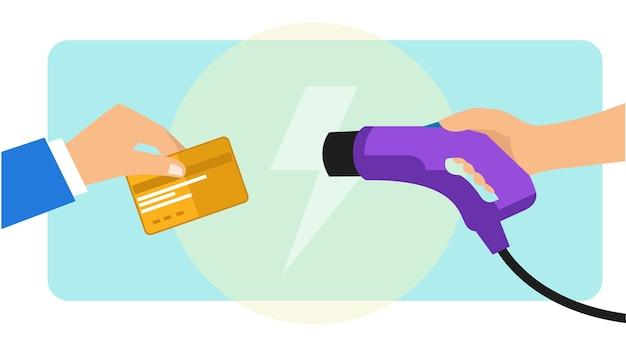 Pagando o carregamento do carro elétrico usando cartão de crédito Vetor Premium