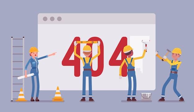 Página 404 em construção Vetor Premium