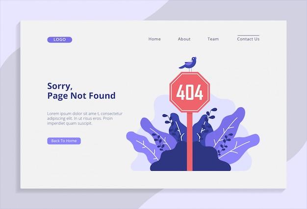 Página 404 não encontrada, página de destino com ilustração vetorial Vetor Premium