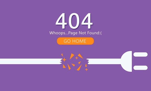 Página 404 não encontrado. fio com soquete. Vetor grátis