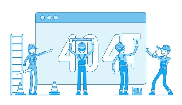 Página com código 404 em construção Vetor Premium