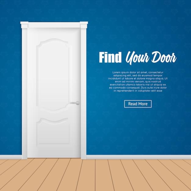 Página da porta da casa Vetor grátis