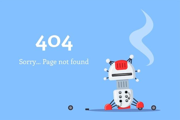 Página da web 404. ícone de robô quebrado. página não encontrada. ilustração do estilo simples. Vetor Premium