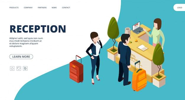 Página da web de recepção. aterragem do ponto de informação isométrica do hotel. pessoas no hotel Vetor Premium