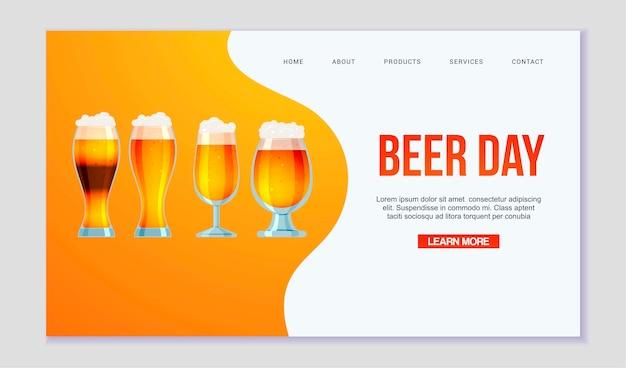 Página da web de todos os tipos de cerveja e cerveja. Vetor Premium