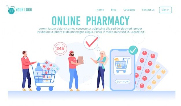 Página da web do serviço de farmácia on-line 24 horas por dia Vetor Premium