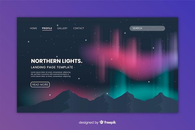 Página de aterragem colorida da aurora boreal Vetor grátis