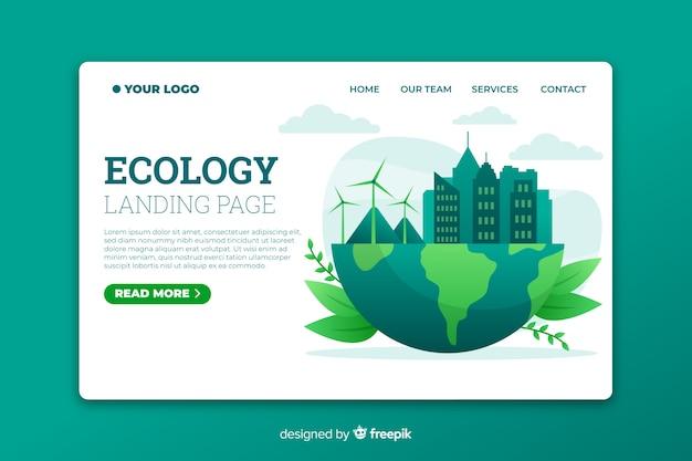 Página de aterragem de ecologia com ilustração de energia eólica Vetor grátis
