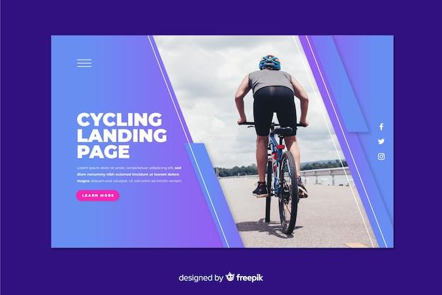 Página de aterragem desportiva com ciclismo Vetor grátis