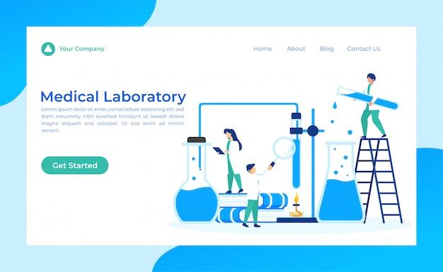 Página de aterragem do laboratório médico Vetor Premium