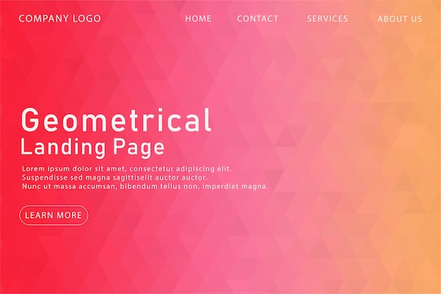 Página de aterragem geométrica rosa moderna Vetor Premium