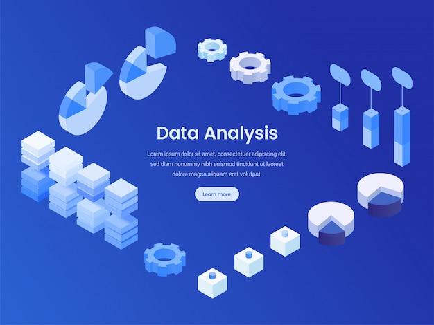 Página de aterragem isométrica de análise de dados Vetor Premium