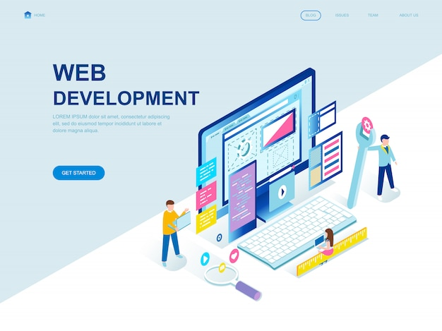 Página de aterragem isométrica design plano moderno de desenvolvimento web Vetor Premium