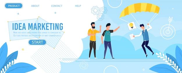 Página de aterragem plana de metáfora oferecer marketing de ideia Vetor Premium
