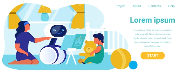 Página de aterrissagem anuncia babá robótica para ajuda Vetor Premium
