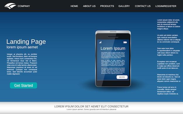 Página de aterrissagem azul com ícone realístico do smartphone Vetor Premium