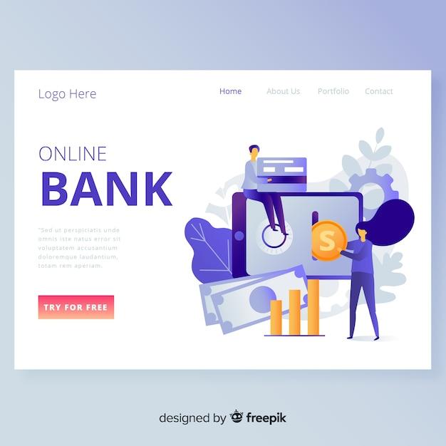 Página de aterrissagem bancária on-line Vetor grátis