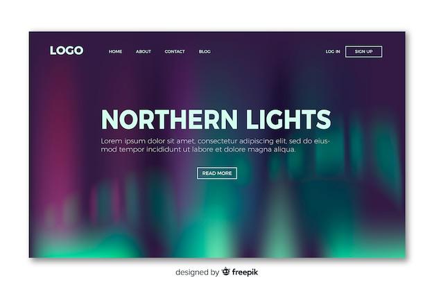 Página de aterrissagem com luzes do norte Vetor grátis