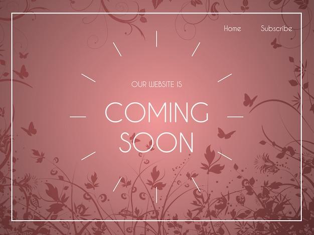 Página de aterrissagem do site com ornamentos florais Vetor grátis