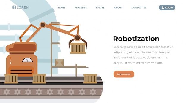 Página de aterrissagem do vetor da robotização do equipamento da fábrica. linha de produção automatizada, recipientes Vetor Premium