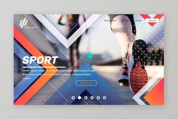Página de aterrissagem esportiva com foto Vetor Premium
