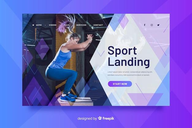 Página de aterrissagem esportiva com foto Vetor grátis