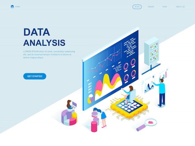 Página de aterrissagem isométrica do projeto liso moderno da análise de dados Vetor Premium